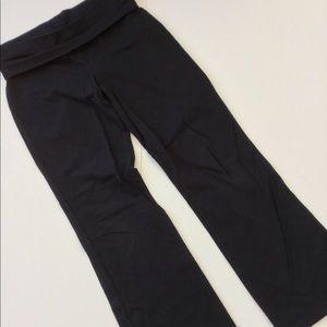 Black Athleisure Yoga Pants Stretchy Flare Leg